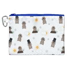Groundhog Day Pattern Canvas Cosmetic Bag (xl) by Valentinaart