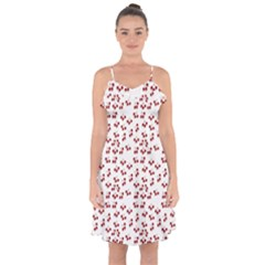 Red Cherries Ruffle Detail Chiffon Dress by snowwhitegirl