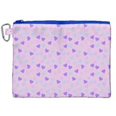 Blue Pink Hearts Canvas Cosmetic Bag (xxl) by snowwhitegirl