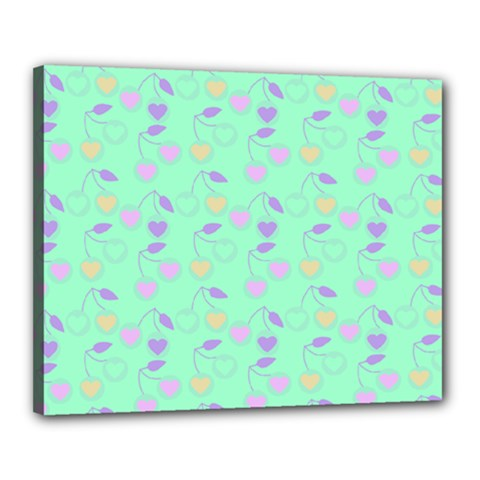 Mint Heart Cherries Canvas 20  X 16  by snowwhitegirl