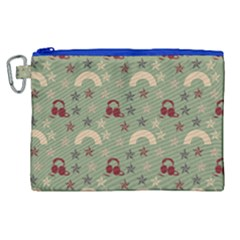 Music Stars Green Canvas Cosmetic Bag (xl)