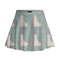 Deer Boots Blue White Mini Flare Skirt