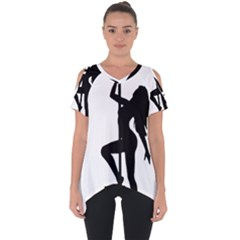 Dance Silhouette Pole Dancing Girl Cut Out Side Drop Tee