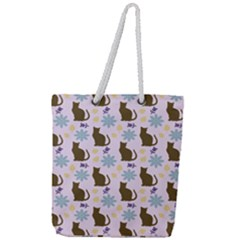 Outside Brown Cats Full Print Rope Handle Tote (large)