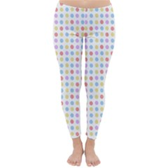 Blue Pink Yellow Eggs On White Classic Winter Leggings by snowwhitegirl
