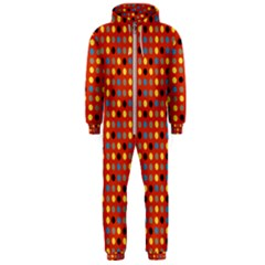 Yellow Black Grey Eggs On Red Hooded Jumpsuit (men)