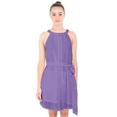 Purple Star Halter Collar Waist Tie Chiffon Dress by snowwhitegirl
