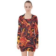 Lava Active Volcano Nature V Neck Bodycon Long Sleeve Dress by Alisyart