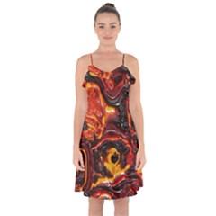 Lava Active Volcano Nature Ruffle Detail Chiffon Dress by Alisyart