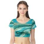 Mint,gold,marble,nature,stone,pattern,modern,chic,elegant,beautiful,trendy Short Sleeve Crop Top