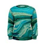 Mint,gold,marble,nature,stone,pattern,modern,chic,elegant,beautiful,trendy Women s Sweatshirt