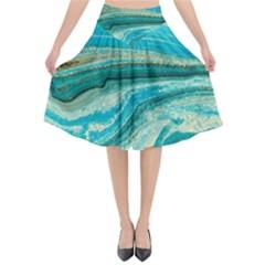 Mint,gold,marble,nature,stone,pattern,modern,chic,elegant,beautiful,trendy Flared Midi Skirt by 8fugoso