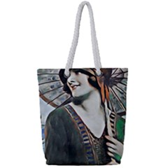 Lady Of Summer 1920 Art Deco Full Print Rope Handle Tote (small) by 8fugoso
