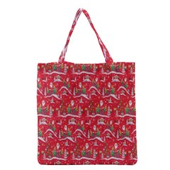 Red Background Christmas Grocery Tote Bag by Nexatart