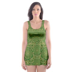 Stars In The Wooden Forest Night In Green Skater Dress Swimsuit by pepitasart