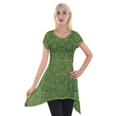 Stars In The Wooden Forest Night In Green Short Sleeve Side Drop Tunic by pepitasart