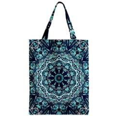 Green Blue Black Mandala  Psychedelic Pattern Zipper Classic Tote Bag by Costasonlineshop