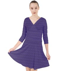 Color Of The Year 2018   Ultraviolet   Art Deco Black Edition Quarter Sleeve Front Wrap Dress