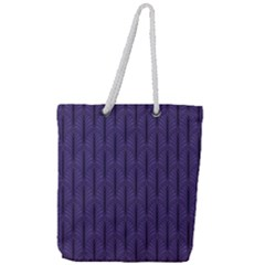 Color Of The Year 2018   Ultraviolet   Art Deco Black Edition Full Print Rope Handle Tote (large)