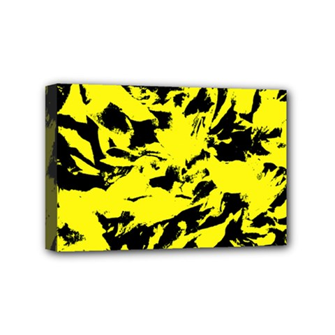 Yellow Black Abstract Military Camouflage Mini Canvas 6  X 4  by Costasonlineshop
