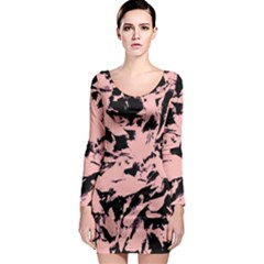 Old Rose Black Abstract Military Camouflage Long Sleeve Bodycon Dress by Costasonlineshop