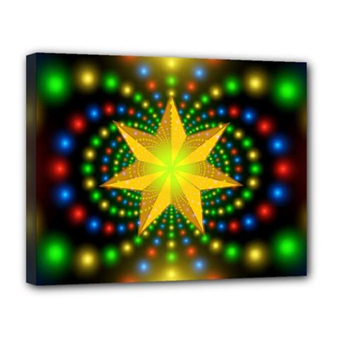 Christmas Star Fractal Symmetry Canvas 14  X 11  by Onesevenart
