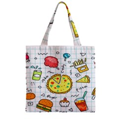 Colorful Doodle Soda Cartoon Set Zipper Grocery Tote Bag