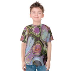 Retro Background Colorful Hippie Kids  Cotton Tee