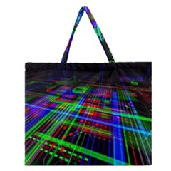 Electronics Board Computer Trace Zipper Large Tote Bag by Onesevenart