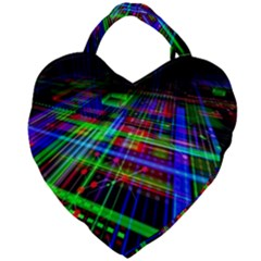 Electronics Board Computer Trace Giant Heart Shaped Tote by Onesevenart