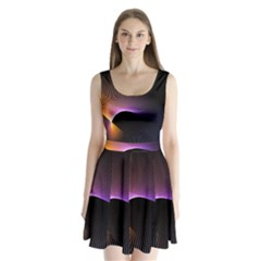 Star Graphic Rays Movement Pattern Split Back Mini Dress  by Onesevenart