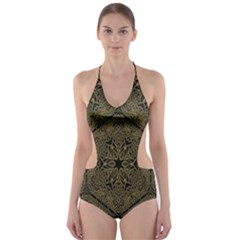 Texture Background Mandala Cut Out One Piece Swimsuit