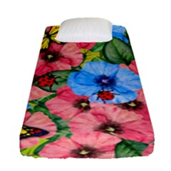 Floral Scene Fitted Sheet (single Size) by linceazul