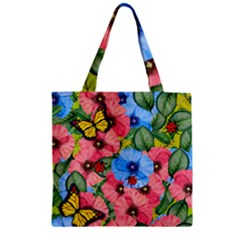 Floral Scene Zipper Grocery Tote Bag by linceazul