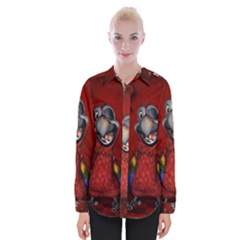 Funny, Cute Parrot With Butterflies Womens Long Sleeve Shirt by FantasyWorld7
