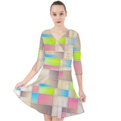 Background Abstract Grid Quarter Sleeve Front Wrap Dress