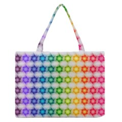 Background Colorful Geometric Zipper Medium Tote Bag