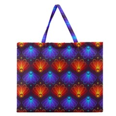 Background Colorful Abstract Zipper Large Tote Bag by Nexatart