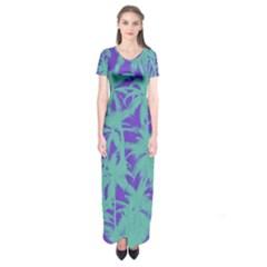 Electric Palm Tree Short Sleeve Maxi Dress