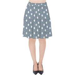 Floral Dots Blue Velvet High Waist Skirt by snowwhitegirl