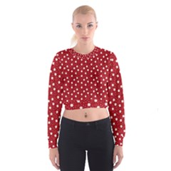 Floral Dots Red Cropped Sweatshirt