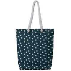 Floral Dots Teal Full Print Rope Handle Tote (small) by snowwhitegirl
