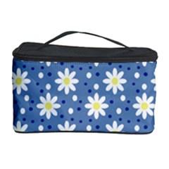 Daisy Dots Blue Cosmetic Storage Case by snowwhitegirl