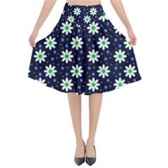 Daisy Dots Navy Blue Flared Midi Skirt by snowwhitegirl