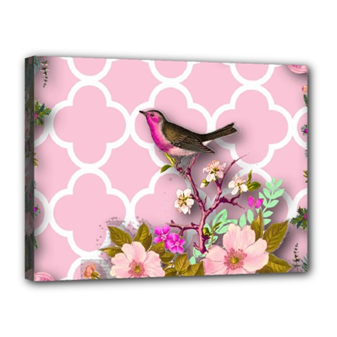 Shabby Chic,floral,bird,pink,collage Canvas 16  X 12  by 8fugoso