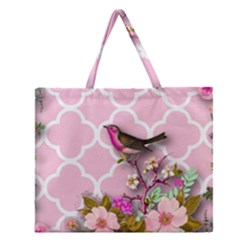 Shabby Chic,floral,bird,pink,collage Zipper Large Tote Bag by 8fugoso