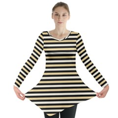 Black And Gold Stripes Long Sleeve Tunic