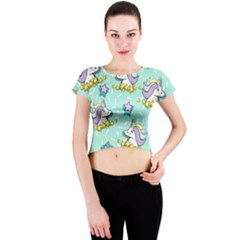 Magical Happy Unicorn And Stars Crew Neck Crop Top