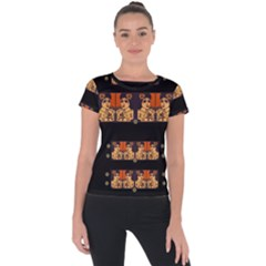 Geisha With Friends In Lotus Garden Having A Calm Evening Short Sleeve Sports Top