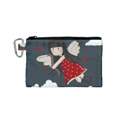 Cupid Girl Canvas Cosmetic Bag (small)